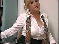 Mature blond with enormous breasts screwed by student in the classroom _: big boobs blondes blowjobs hairy lingerie milfs tits