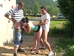 Hot young pretty teen girl in public gangbang fucking