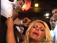 Blonde busty chick fuck with different cocks