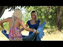Lesbian sex under the tree. _: fingering lesbians